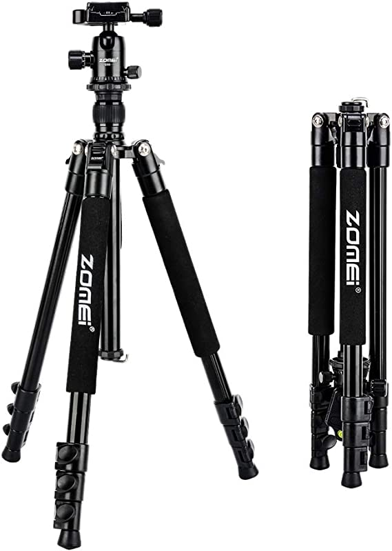 ZoMei Camera Tripod for DSLR with 360 Degree Ball Head Lightweight Alluminum Alloy Tripod for Canon Nikon DSLR and Camcorders(Black)
