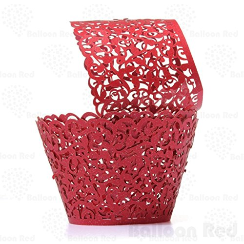 Vines Artistic Filigree Lace Laser Cut Cupcake Wrappers Muffin Case, Pack of 100, Red