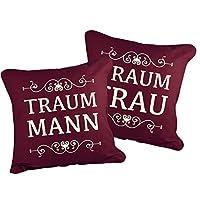 Klebefieber Dekokissen-Set Traummann und Traumfrau B x H: 40cm x 40cm Farbe: bordeaux