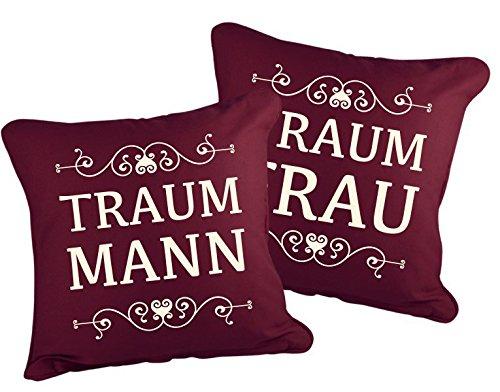 Klebefieber Dekokissen-Set Traummann und Traumfrau B x H  40cm x 40cm Farbe  Stone