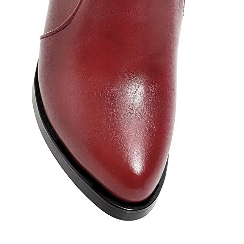 High Zipper Allhqfashion Material Red Boots Soft Closed Heels Women's Pointed Solid Toe xw4q41Izc6