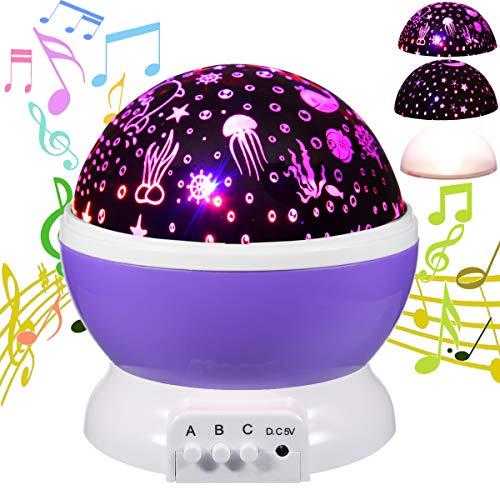 (HAMPAY Moon Star Ocean Music Night Light 360 Degree Rotation Projector 9 Modes 12 Songs for Babies Children Relax Sleep Nursery Unique Best Gifts for Kids(Purple)