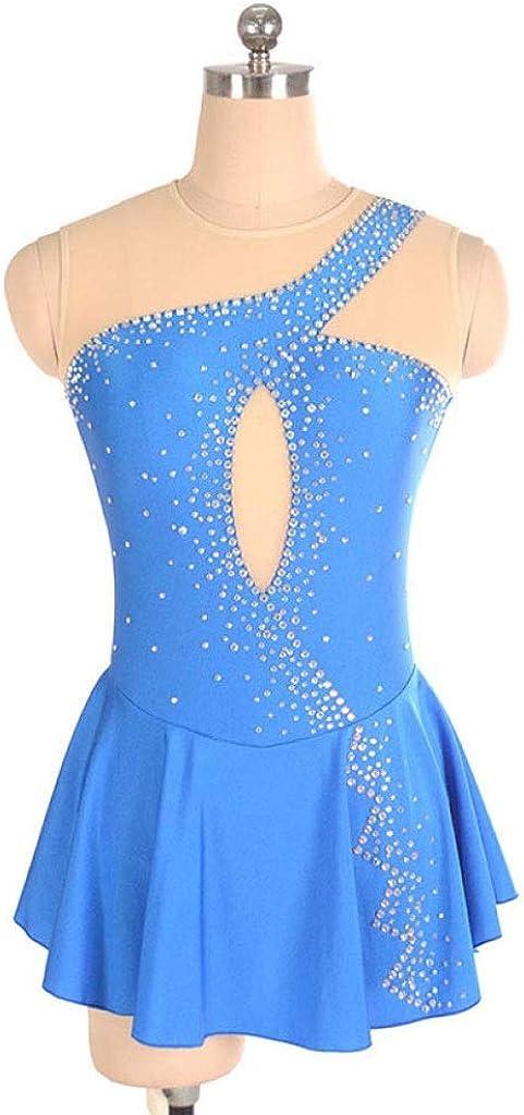 フィギュアスケートドレス、女性の女の子の青いハロー染色エラスタン競争スケート服手作りファッションノースリーブアイススケートドレス ブルー Child12