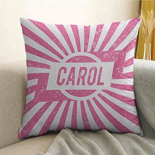 FreeKite Carol Pillowcase Hug Pillowcase Cushion Pillow Graphic Popular Name Design for Girls Pastel Colors Children Kids Birthday Anti-Wrinkle Fading Anti-fouling W20 x L20 Inch Pale Pink and -