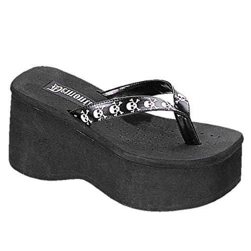 (Demonia 3 1/2 Inch Trendy Gothic Sandal Punk Shoe Black Flip Flop White Skulls Size: 9)