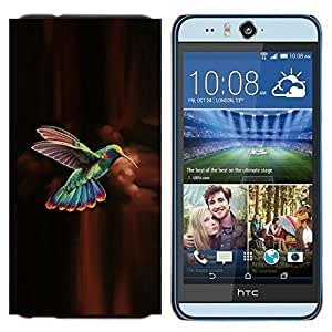 TECHCASE---Cubierta de la caja de protección para la piel dura ** HTC Desire Eye ( M910x ) ** --colibrí verde marrón chocolate
