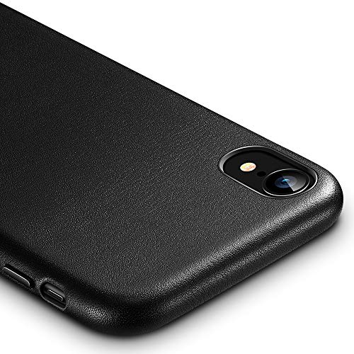 ESR Premium Real Leather Case for The iPhone XR, Slim Protective Cover [Supports Wireless Charging] for The Apple iPhone XR (2018) - Black (Black Leather Case)