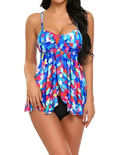 (ADOME Women Swimwear Two Piece Swimsuit Serendipity Flyaway Tankini Multi-Colored Large)