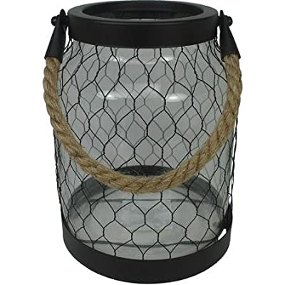 Glass Lantern with Metal Netting and Durable Braided Rope Handle