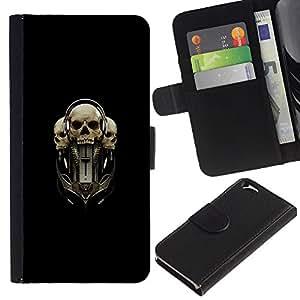 LASTONE PHONE CASE / Lujo Billetera de Cuero Caso del tirón Titular de la tarjeta Flip Carcasa Funda para Apple Iphone 6 4.7 / Tri Skull