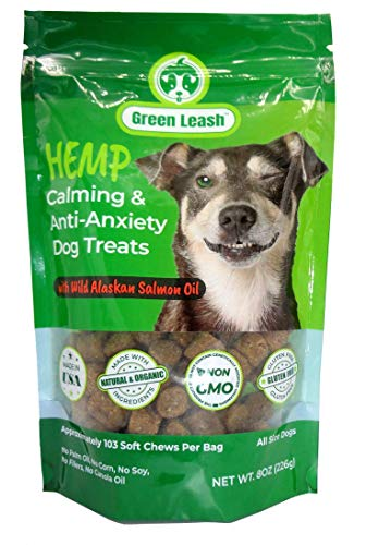 (Green Leash~Hemp Oil and Seed Meal Calming Dog Treat, Anxiety Relief Aid with Wild Alaskan Salmon Oil.)