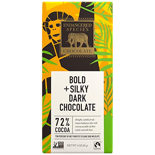 Endangered Species Dark Chocolate - Endangered Species Chimpanzee, Natural Dark Chocolate (72%), 3-Ounce Bars (Pack of 12)