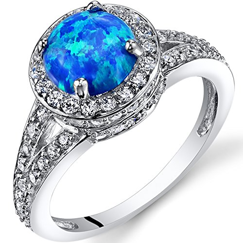 Created Blue Opal Halo Ring Sterling Silver 1.00 Carats Size 9