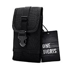 OneTigris MOLLE Tactical Smartphone Pouch for iPhone6 iPhone6 Plus and Galaxy Note 4, Blackberry 8300, HTC One Max (Black)