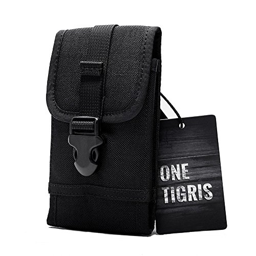"""OneTigris Smartphone Pouch Molle Tactical Phone Holster with Quick Release Buckle for 4.7"""" iPhone6 5.5"""" iPhone6 Plus iPhone 7 iPhone 7 Plus Samsung Note 4 Galaxy S6 Nexus 6P LG V10 (Black)"""