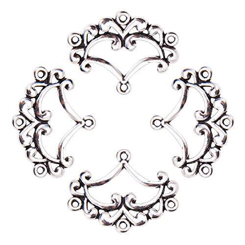 pandahall 10pcs Antique Silver Tibetan Style Ring Chandelier Component Links for Dangle Earring Making Fan 31.5x26x2.5mm, Hole: ()