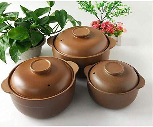 LIUSHI Casserole en céramique Non émaillée avec Couvercle, Pot en Argile Fait Main Pot en Terre Pot de Soupe à l'oignon marmite pour Une Cuisson Lente A 3.17Quart
