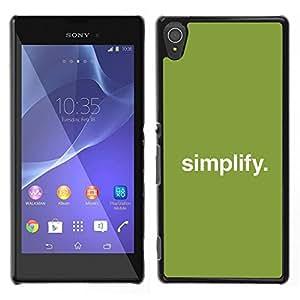 // PHONE CASE GIFT // Duro Estuche protector PC Cáscara Plástico Carcasa Funda Hard Protective Case for Sony Xperia T3 / Simplificar /