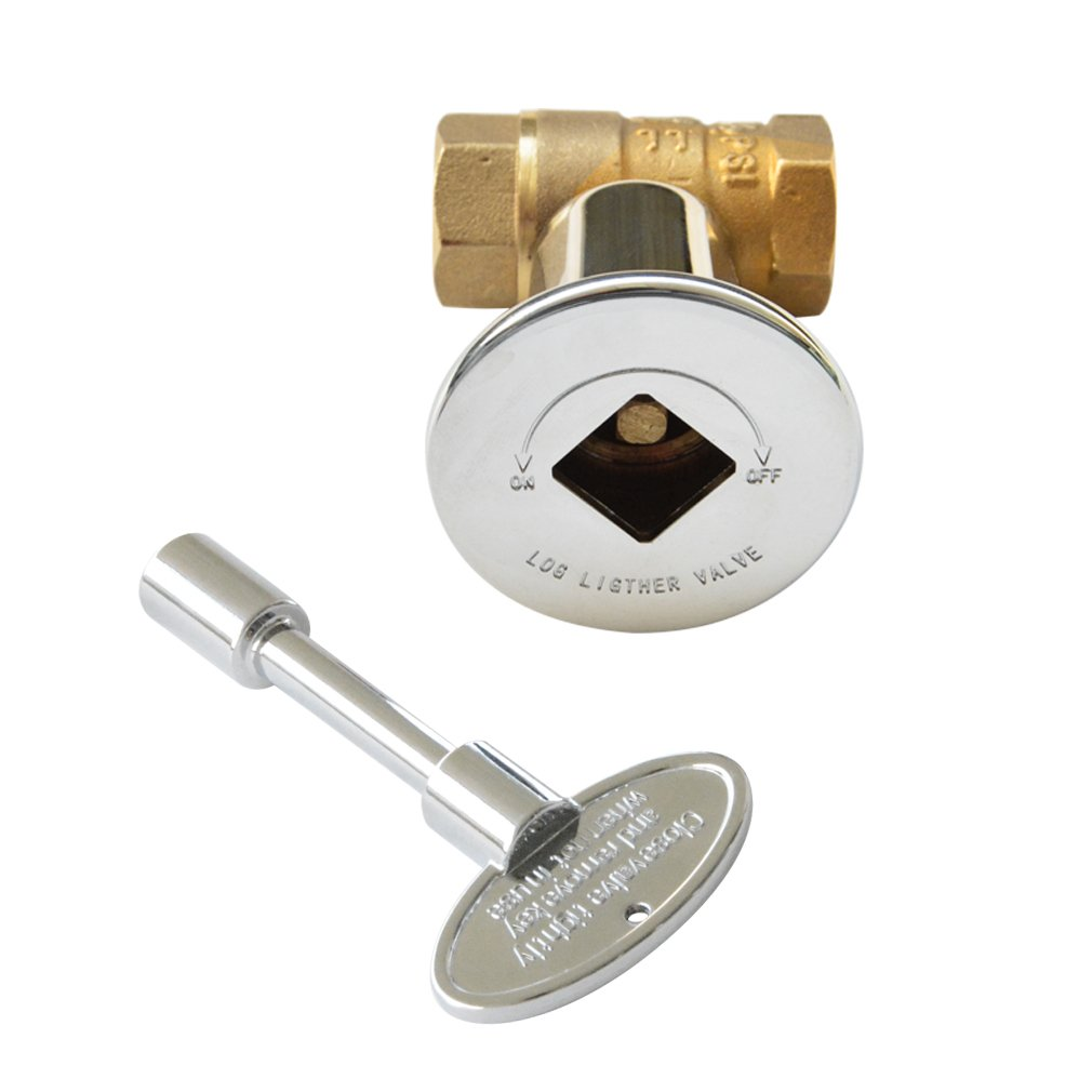 Skyflame 1/2 Inch Straight Gas Key Valve Kit for Fire Pit Fireplace with Flange and 3 Inches Key, Chromed by Skyflame