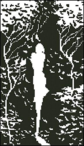 Zamtac top Quality Lovely Counted Cross Stitch kit Autumn Beauty Autumn Leaves Woman Girl Silhouette - (Cross Stitch Fabric CT Number: 14CT unprint Canvas)