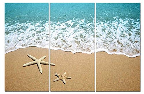 (Canvas Wall Art Decor - 12x24 3 Piece Set (Total 24x36 inch) - Sandy Beach & Sea - Decorative & Modern Multi Panel Split Canvas Prints for Dining & Living)