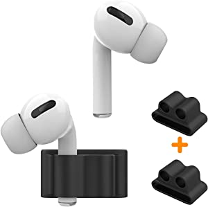 Anti-Lost Silicone Watch Strap Holder for AirPods Pro/AirPod 2 1, Airpods Watch Band Holder, Airpod Accessories Holder for Sports Exercise Working(Black+Black)