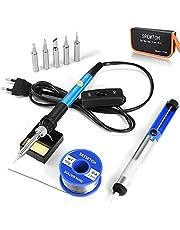 Soldeerbout Set, SREMTCH 60W / 220V Elektronische Soldeerbout Instelbare Temperatuur 200-450 ° C En AAN/UIT-Schakelaar, 100g Soldeer, 5 Soldeerpunten, Desoldeerpomp, Soldeerstatief met Spons, PU-Tas