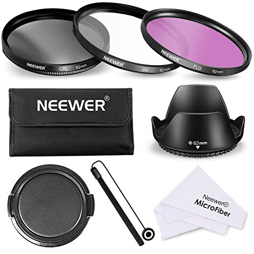 Neewer 62mm Professional Lens Filter Accessory Kit with 62mm Filter Thread Includes Filter Kit (UV, CPL, FLD), Lens Hood, Lens Cap, Pouch, Cleaning Cloth for Canon Nikon and Other DSLR Camera Lens