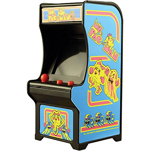 Ms Pac-Man Classic Tiny Arcade Game Palm Size w/ Authentic Sounds & Joystick For Sale