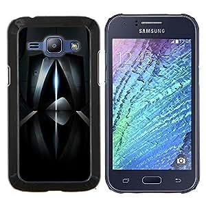 TaiTech / Prima Delgada SLIM Casa Carcasa Funda Case Bandera Cover Armor Shell Wood Texture - Resumen de rayo láser futurista oscuro - Samsung Galaxy J1 J100