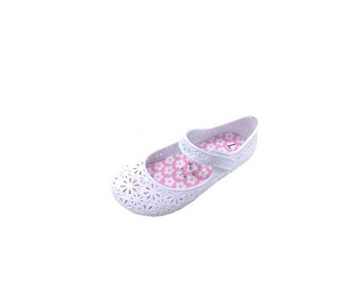 8, White Mary Jane Shoes Girls Toddler Jelly Glitter Flat Shoe Pink Purple White Colors