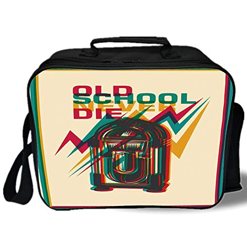 - Insulated Lunch Bag,Jukebox,Old School Never Die Quote on Antique Radio Abstract Backdrop,Turquoise Marigold and Hot Pink,for Work/School/Picnic, Grey