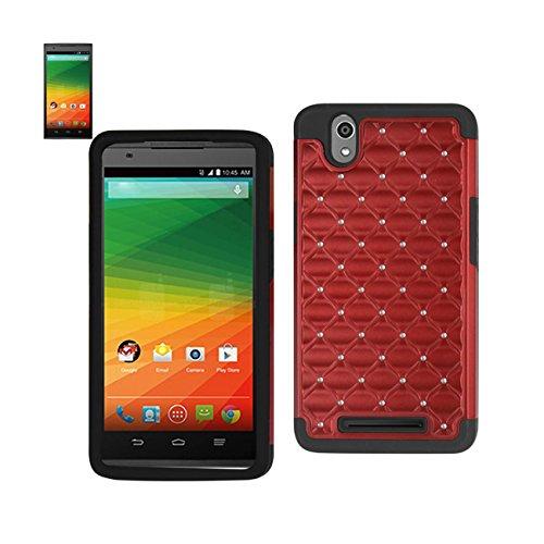 Reiko Wireless Premium Hybrid Pc And Silicone Double Protection Diamond Bling Case For Zte Zmax Z970 - Black+Red