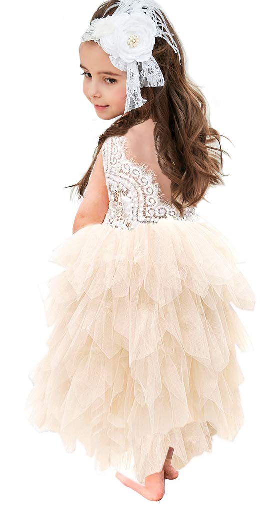 Topmaker Backless A-line Lace Back Flower Girl Dress (4T, Long-Ivory)