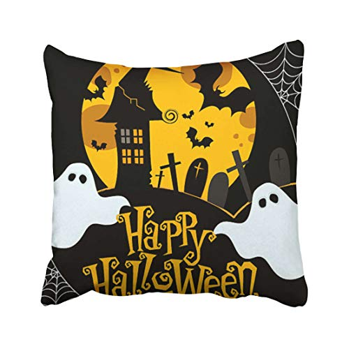 Emvency Ghost Cute Halloween Cobweb House Cartoon Flying Autumn Bat Black Throw Pillow Covers 20x20 Inch Decorative Cover Pillowcase Cases Case Two Side -