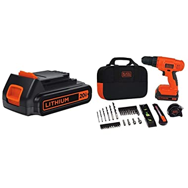 BLACK+DECKER LBXR20 20-Volt MAX Extended Run Time Lithium-Ion Cordless To with Black & Decker BDCD120VA 20V Lithium Drill/Driver Project Kit