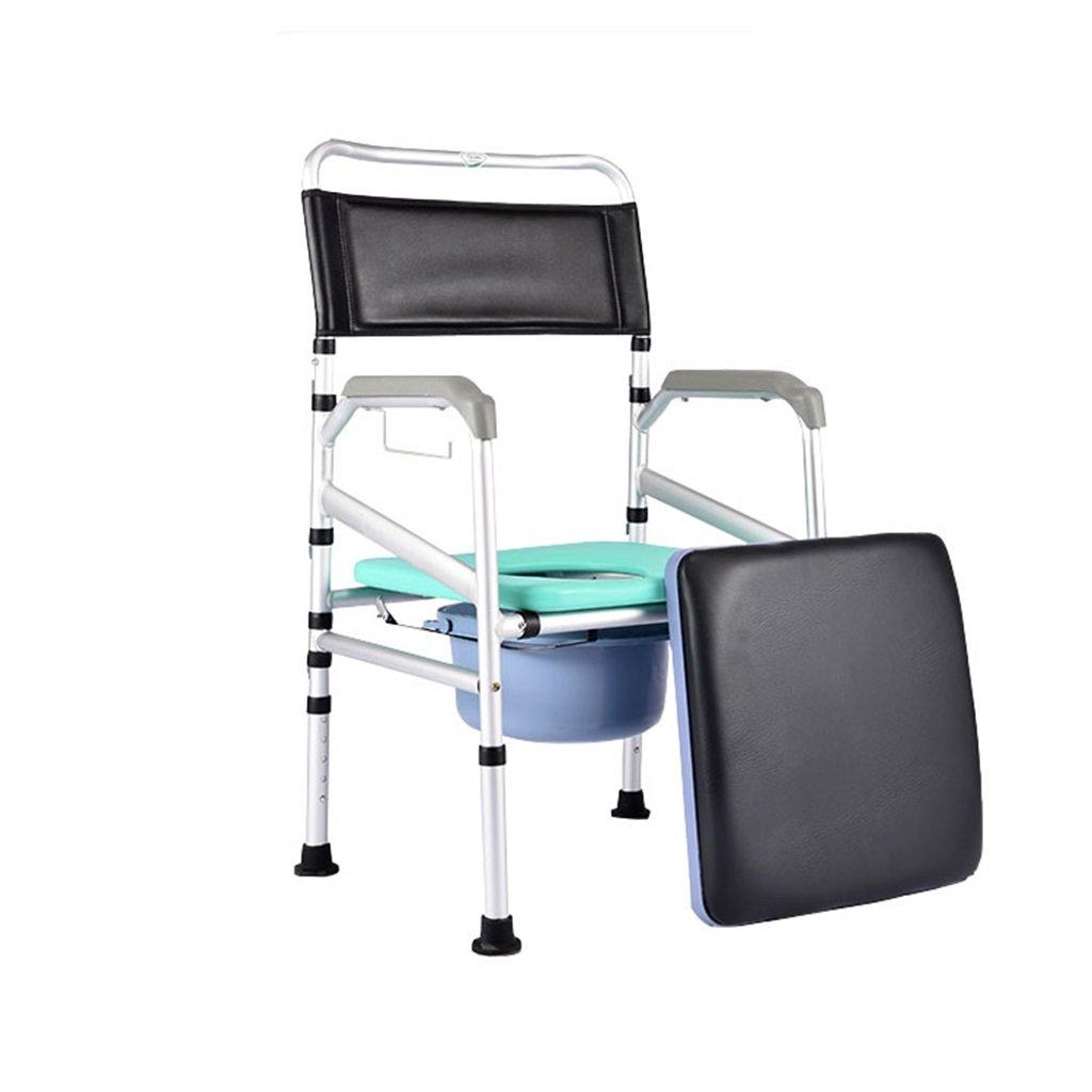アンチスリップ手すり頑丈で耐久性のあるポータブル折りたたみ高齢者アルミニウム合金の高さ調節可能なトイレ椅子付きパッド付き椅子トイレシャワー付きスツールバケツ携帯電話妊婦トイレシートMax.200kg以上   B07DKWB5XC