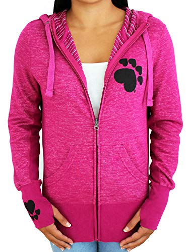 Womens Paw Print Full Zip Hoodie Activewear Workout Sweatshirt Athletic Jacket with Thumb Holes (Pink, Small)