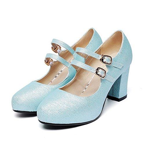 Alti Talloni Delle Della Solido Allhqfashion Donne Blu Rotonda Di Inarcamento Fusione Punta scarpe Chiusa Materiali Pompe Uxq0RwSXYE