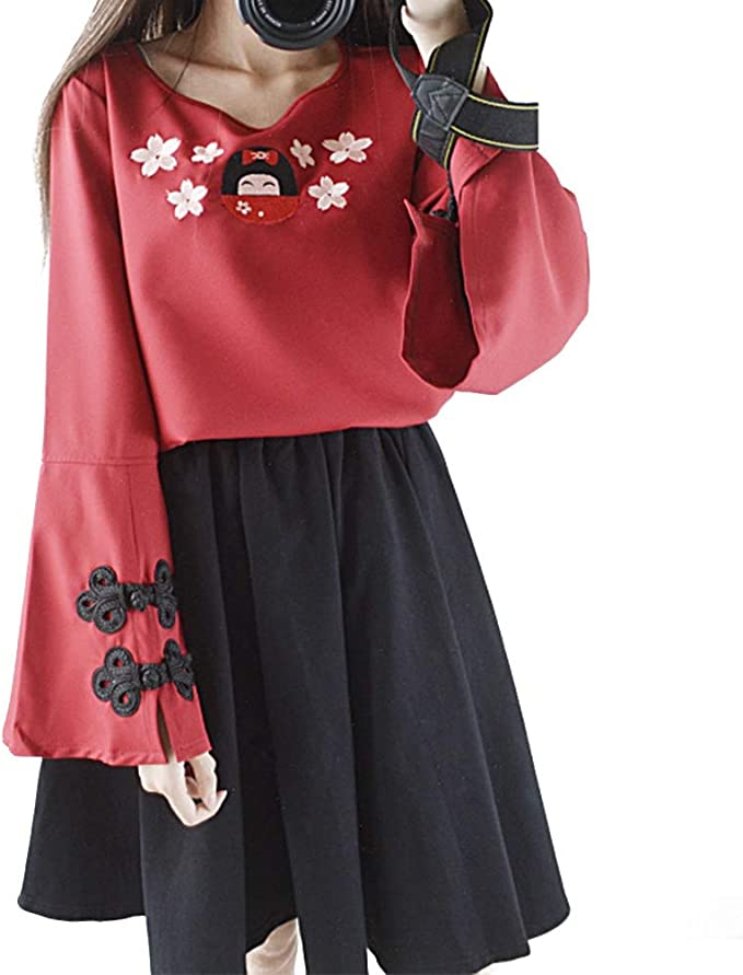 YUFAA Disfraz de mujer Camiseta de manga larga + Falda Estilo ...