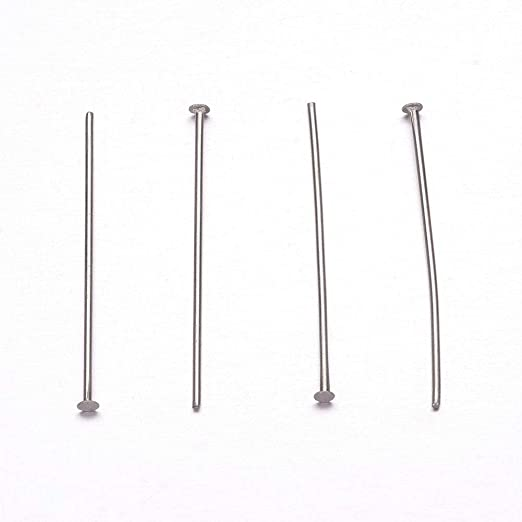 UNICRAFTALE About 500pcs 304 Stainless Steel Head Pins Silver Tones Dressmaker Pins Metal Material Sewing Pins for Jewelry Making 27x1.8mm