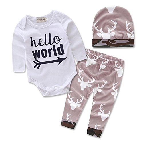 AMA(TM) Newborn Baby Girl Boy Romper + Leggings Pants + Hat Outfits Set (9-12M, White) (Baby Santa Outfit For Boy)