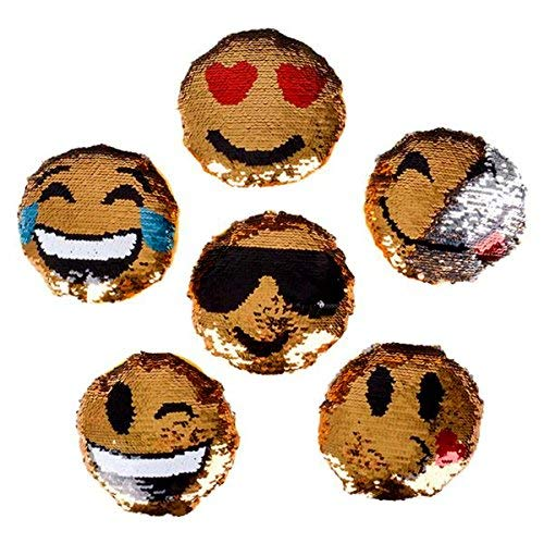 """ACO Sequined Emoticon Round Mini 5.5"""" Pillows ~ Set of 6 Emoji Expressions Designs ~ Reversible Mermaid Sequins"""