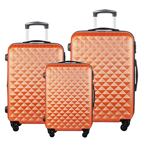 (3 PC Luggage Set Durable Lightweight Hard Case Spinner Suitecase LUG3 LY20 ORANGE)
