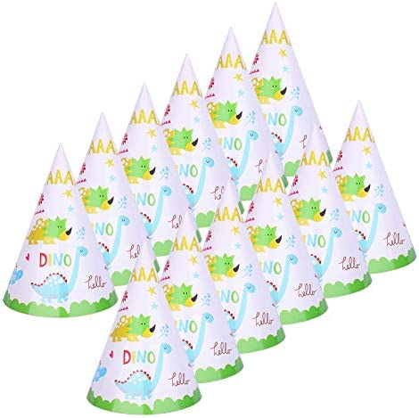 Dinosaur Birthday Party Hats for Kids Assembled Set of 12