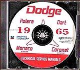 1965 DODGE REPAIR SHOP & SERVICE MANUAL & BODY MANUAL CD INCUDES: Dart, Dart GT, Dart 270, Coronet, Coronet 440, Polara, Custom 880 and Monaco series. 65
