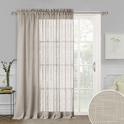 RYB HOME Decoration Semi-Sheer Curtains for Sliding Glass Door, Linen Textured Window Panels for Bedroom Living Room, Rural Pastoral Drapery for Farmhouse Patio Door, Taupe, 100 x 84, 1 Pc