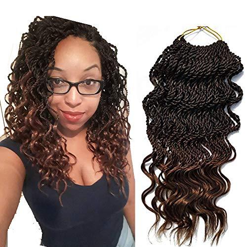 "6Packs 18'' Wavy Senegalese Twist Crochet Braid Hair Wavy Ends Synthetic Hair Extensions for Black Women (18"" 6packs, T1B/30#)"