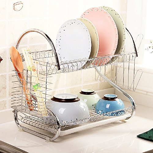 Dish Drainer Stainless Steel 2 Tier Dish Drying Rack with Re