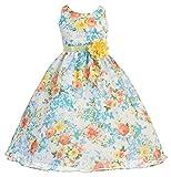 AkiDress Chiffon Dress with Flower Pattern Print for Little Girl Blue 8